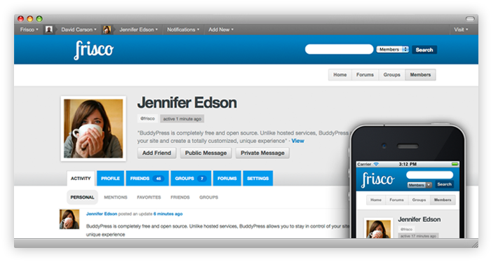Frisco — a BuddyPress child theme